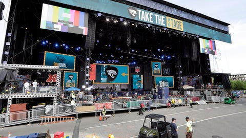 <p>               Work continues on the NFL Draft stage Tuesday, April 23, 2019, in Nashville, Tenn. The NFL Draft is scheduled to be held Thursday through Saturday. (AP Photo/Mark Humphrey)             </p>