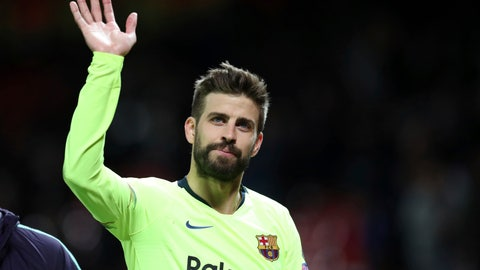 <p>               Barcelona's Gerard Pique waves to the fans after the Champions League quarterfinal, first leg, soccer match between Manchester United and FC Barcelona at Old Trafford stadium in Manchester, England, Wednesday, April 10, 2019. Barcelona won 1-0. (AP Photo/Jon Super)             </p>
