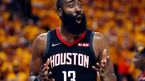 <p>               Houston Rockets guard James Harden (13) reacts after a foul in the second half during an NBA basketball game against the Utah Jazz Saturday, April 20, 2019, in Salt Lake City. (AP Photo/Rick Bowmer)             </p>