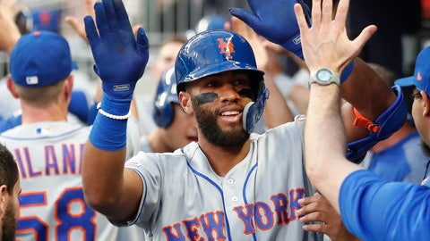 <p>               New York Mets' Amed Rosario (1) celebrities in the dugout after hitting a three-run home run during the second inning of the team's baseball game against the Atlanta Braves on Thursday, April 11, 2019, in Atlanta. (AP Photo/John Bazemore)             </p>