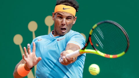 <p>               Spain's Rafael Nadal returns the ball toItaly's Fabio Fognini during their semifinal match of the Monte Carlo Tennis Masters tournament in Monaco, Saturday, April, 20, 2019. (AP Photo/Claude Paris)             </p>