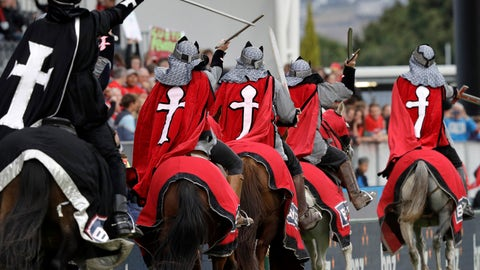 "<p>               In this Feb. 23, 2019, photo, the Crusader horseman ride around the arena prior to the start of the Super Rugby match between the Crusaders and Hurricanes in Christchurch, New Zealand. The Crusaders announced Wednesday, April 3, 2019, that they will be considering a change to their name and branding following the Christchurch terrorist attacks on March 15 - insisting the status quo is ""no longer tenable."" (AP Photo/Mark Baker)             </p>"