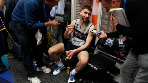 <p>               Virginia's Ty Jerome answers questions after a practice session for the semifinals of the Final Four NCAA college basketball tournament, Thursday, April 4, 2019, in Minneapolis. (AP Photo/Jeff Roberson)             </p>