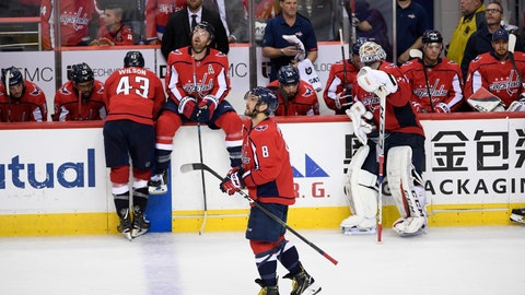 <p>               Washington Capitals left wing Alex Ovechkin (8), of Russia, and other members of the Capitals react after losing 4-3 to the Carolina Hurricanes in double overtime of Game 7 of an NHL hockey first-round playoff series, Wednesday, April 24, 2019, in Washington. (AP Photo/Nick Wass)             </p>