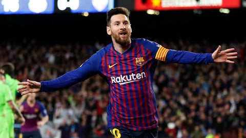 <p>               Barcelona forward Lionel Messi celebrates after scoring his side's opening goal during a Spanish La Liga soccer match between FC Barcelona and Levante at the Camp Nou stadium in Barcelona, Spain, Saturday, April 27, 2019. (AP Photo/Manu Fernandez)             </p>