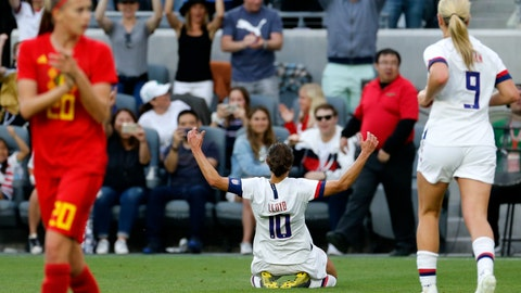 <p>               U.S. forward Carli Lloyd (10) celebrates her goal against Belgium during the first half of an international friendly soccer match Sunday, April 7, 2019, in Los Angeles. (AP Photo/Ringo H.W. Chiu)             </p>