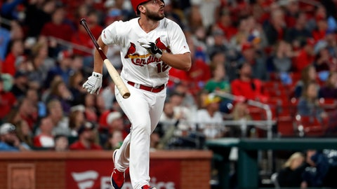 <p>               St. Louis Cardinals' Paul DeJong tosses aside his bat while watching his solo home run during the eighth inning of a baseball game against the Milwaukee Brewers Tuesday, April 23, 2019, in St. Louis. (AP Photo/Jeff Roberson)             </p>