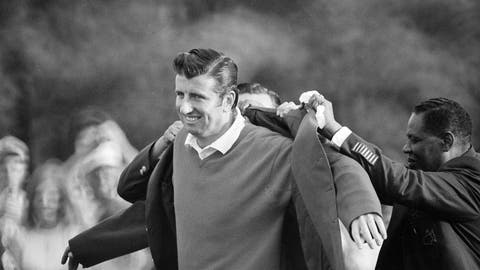 <p>               FILE - In this April 13, 1969, file photo, George Archer, winner of the Masters Tournament at Augusta, Ga., is helped into his green coat, symbol of a Masters win, after shooting 67-73-70-72 - 281 for the victory. This is the 50-year anniversary of that Masters victory. (AP Photo, File)             </p>