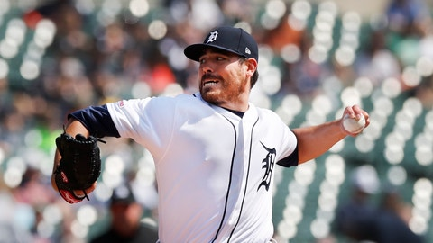 <p>               Detroit Tigers starting pitcher Matt Moore throws during the first inning of a baseball game against the Kansas City Royals, Saturday, April 6, 2019, in Detroit. (AP Photo/Carlos Osorio)             </p>