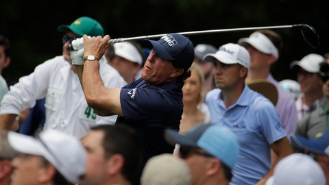 <p>               Phil Mickelson hits a drive on the ninth hole during the second round for the Masters golf tournament Friday, April 12, 2019, in Augusta, Ga. (AP Photo/Charlie Riedel)             </p>