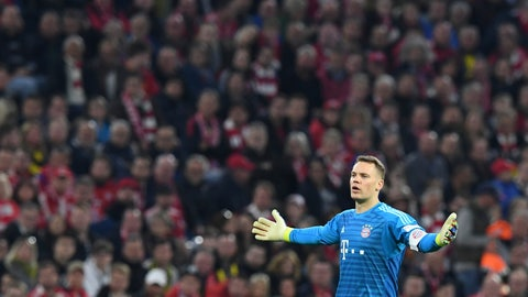 <p>               Bayern goalkeeper Manuel Neuer reacts during the German Bundesliga soccer match between FC Bayern Munich and Borussia Dortmund in the Allianz Arena in Munich, Germany, on Saturday, April 6, 2019. (AP Photo/Kerstin Joensson)             </p>