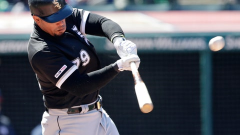 <p>               Chicago White Sox Jose Abreu hits a two-run double off Cleveland Indians starting pitcher Corey Kluber in the fourth inning of a baseball game, Wednesday, April 3, 2019, in Cleveland. Yoan Moncada and Leury Garcia scored on the play. (AP Photo/Tony Dejak)             </p>