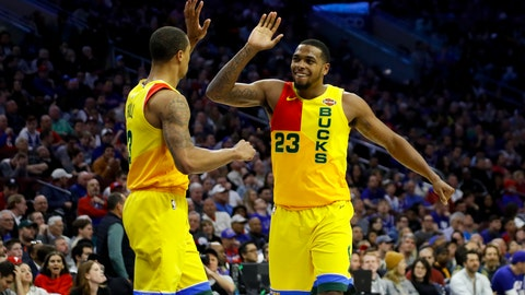 <p>               Milwaukee Bucks' George Hill, left, and Sterling Brown celebrate during the second half of the team's NBA basketball game against the Philadelphia 76ers, Thursday, April 4, 2019, in Philadelphia. Milwaukee won 128-122. (AP Photo/Matt Slocum)             </p>