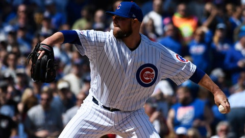 <p>               Chicago Cubs starting pitcher Jon Lester (34) throws the ball against the Pittsburgh Pirates during the first inning of a baseball game, Monday, April 8, 2019, in Chicago. (AP Photo/David Banks)             </p>