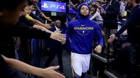 <p>               Golden State Warriors' Stephen Curry greets fans as he takes the court for warm up shots prior to an NBA basketball game against the Los Angeles Clippers Sunday, April 7, 2019, in Oakland, Calif. (AP Photo/Ben Margot)             </p>