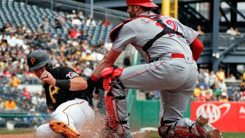 <p>               Pittsburgh Pirates' Kevin Newman, left is tagged out by Cincinnati Reds catcher Curt Casalin as he tries to score from third inning on a bunt by Trevor Williams in the second inning of a baseball game, Saturday, April 6, 2019, in Pittsburgh. Newman was called safe, but the play was overturned on review. (AP Photo/Keith Srakocic)             </p>