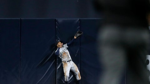 <p>               Seattle Mariners center fielder Mallex Smith can't make the catch on a two-run home run hit by San Diego Padres' Austin Hedges during the sixth inning of a baseball game, Tuesday, April 23, 2019, in San Diego. (AP Photo/Gregory Bull)             </p>