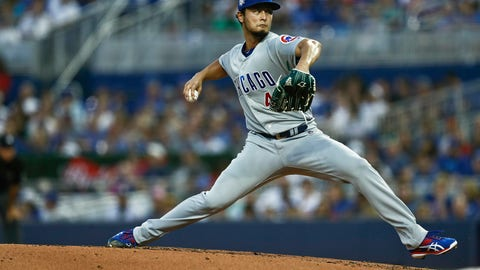 <p>               Chicago Cubs starting pitcher Yu Darvish delivers during the first inning of a baseball game against the Miami Marlins, Monday, April 15, 2019, in Miami. (AP Photo/Brynn Anderson)             </p>