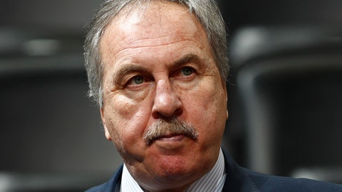 <p>               FILE - In this March 8, 2017, file photo, Washington Wizards general manager Ernie Grunfeld watches during the first half of an NBA basketball game in Denver. Grunfeld has been fired as president of the Washington Wizards after 16 seasons in charge of the team. The Wizards announced his dismissal on Tuesday, April 2, 2019,  with four games left in a disappointing, no-playoffs season.(AP Photo/David Zalubowski, File)             </p>