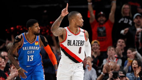 <p>               Portland Trail Blazers guard Damian Lillard, right, reacts after making a basket as Oklahoma City Thunder forward Paul George, left, trails the play during the first half of Game 1 of a first-round NBA basketball playoff series in Portland, Ore., Sunday, April 14, 2019. (AP Photo/Steve Dipaola)             </p>