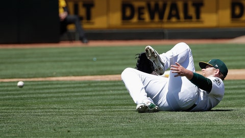 <p>               Oakland Athletics pitcher Brett Anderson reacts after being injured on an RBI-single by Toronto Blue Jays' Randal Grichuk during the third inning of a baseball game in Oakland, Calif., Sunday, April 21, 2019. Anderson left the game after the play. (AP Photo/Jeff Chiu)             </p>