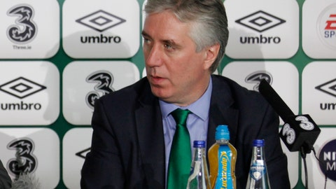 <p>               FILE - In this file photo dated Saturday, Nov. 9, 2013, Republic of Ireland's FAI chief executive John Delaney speak to the media in Dublin, Ireland.  Delaney offered to step aside from his newly created role as executive vice president of the FAI (Football Association of Ireland) amid fallout from a financial controversy, The federation said Monday April 15, 2019. (AP Photo/Peter Morrison, FILE)             </p>