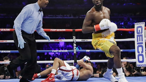 <p>               Terence Crawford, right, reacts after knocking down England's Amir Khan during the first round of a WBO world welterweight championship boxing match Sunday, April 21, 2019, in New York. Crawford won the fight. (AP Photo/Frank Franklin II)             </p>