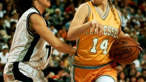 <p>               FILE - In this March 30, 1997, file photo, Tennessee's Kellie Jolly (14) drives against Old Dominion defender Stacy Himes (11) in the first half at the NCAA Women's Final Four Basketball Tournament in Cincinnati. New Tennessee coach Kellie Harper (Jolly) played for the Lady Vols when they were regularly winning national champions. She now takes over a Tennessee program that's in a much different place, as it hasn't even reached the Sweet 16 over the last three years. Tennessee is banking on the former Missouri State coach to get this storied program back to national prominence. (AP Photo/Elise Amendola, File)             </p>