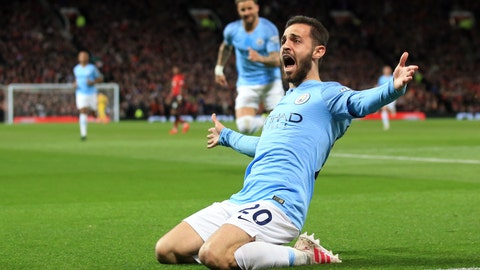 <p>               Manchester City's Bernardo Silva celebrates after scoring the opening goal during the English Premier League soccer match between Manchester United and Manchester City at Old Trafford Stadium in Manchester, England, Wednesday April 24, 2019. (AP Photo/Jon Super)             </p>