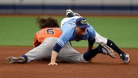 <p>               Houston Astros' Jake Marisnick (6) is tagged out by Tampa Bay Rays second baseman Joey Wendle (18) while attempting to steal second during the sixth inning of a baseball game Sunday, March 31, 2019, in St. Petersburg, Fla. (AP Photo/Jason Behnken)             </p>