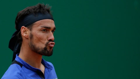 <p>               Italy's Fabio Fognini grimaces during the men's singles final match of the Monte Carlo Tennis Masters tournament against Serbia's Dusan Lajovic in Monaco, Sunday, April, 21, 2019. (AP Photo/Claude Paris)             </p>