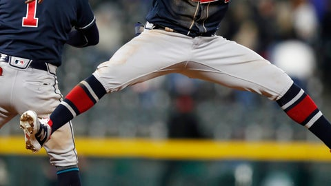 <p>               Atlanta Braves left fielder Ronald Acuna Jr., front, celebrates with second baseman Ozzie Albies after the team's baseball game against the Colorado Rockies on Tuesday, April 9, 2019, in Denver. The Braves won 7-1. (AP Photo/David Zalubowski)             </p>