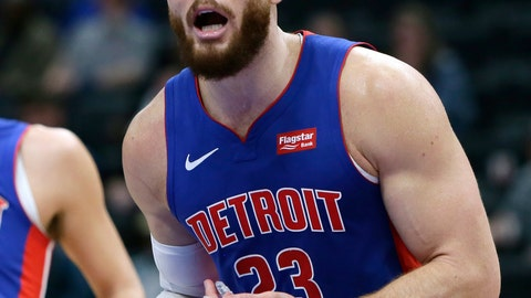 <p>               Detroit Pistons forward Blake Griffin (23) reacts after being whistled for a foul during the fourth quarter of an NBA basketball game against the Charlotte Hornets, Sunday, April 7, 2019, in Detroit.(AP Photo/Duane Burleson)             </p>