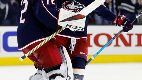 <p>               Columbus Blue Jackets' Sergei Bobrovsky, left, of Russia, and Brandon Dubinsky celebrate their win over the Tampa Bay Lightning in Game 4 of an NHL hockey first-round playoff series, Tuesday, April 16, 2019, in Columbus, Ohio. The Blue Jackets beat the Lightning 7-3. (AP Photo/Jay LaPrete)             </p>