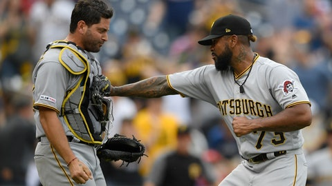 <p>               Pittsburgh Pirates relief pitcher Felipe Vazquez (73) celebrates with catcher Francisco Cervelli, left, after a baseball game against the Washington Nationals, Sunday, April 14, 2019, in Washington. (AP Photo/Nick Wass)             </p>