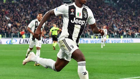 <p>               Juventus' Moise Kean celebrates after scoring his team's second goal during the Italian Serie A soccer match between Juventus and AC Milan at the Allianz Stadium in Turin, Italy, Saturday, April 6, 2019.  (Andrea Di Marco/ANSA via AP)             </p>