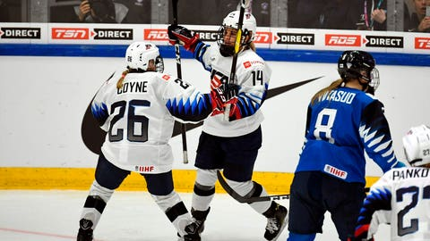 <p>               Brianna Decker of the U.S, center, celebrates with teammate Kendall Coyne Schofield after scoring her side's fifth goal during the 2019 IIHF Women's World Championships preliminary match between Finland and USA in Espoo, Finland, Thursday, April 4, 2019. (Antti Aimo-Koivisto/Lehtikuva via AP)             </p>