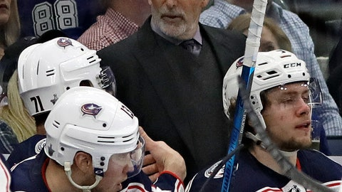 <p>               Columbus Blue Jackets head coach John Tortorella works with the team during the third period of Game 1 of an NHL Eastern Conference first-round hockey playoff series against the Tampa Bay Lightning on Wednesday, April 10, 2019, in Tampa, Fla. (AP Photo/Chris O'Meara)             </p>