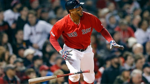 <p>               Boston Red Sox's Xander Bogaerts watches his RBI-double during the fourth inning of a baseball game against the Baltimore Orioles in Boston, Friday, April, 12, 2019. (AP Photo/Michael Dwyer)             </p>