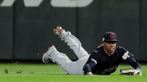 <p>               Cleveland Indians right fielder Greg Allen makes a diving catch of a fly ball hit by Seattle Mariners' Dee Gordon during the ninth inning of a baseball game Tuesday, April 16, 2019, in Seattle. The Indians won 4-2. (AP Photo/Ted S. Warren)             </p>