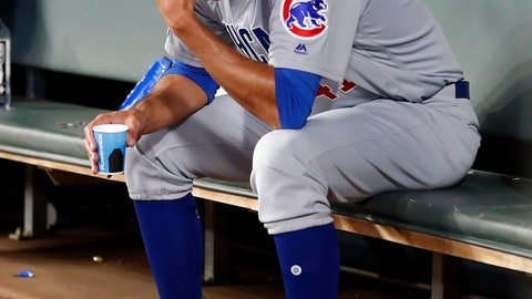 <p>               Chicago Cubs relief pitcher Steve Cishek sits on the bench after being replaced in the eighth inning of the team's baseball game against the Atlanta Braves on Wednesday, April 3, 2019, in Atlanta. The Braves won 6-4. (AP Photo/John Bazemore)             </p>