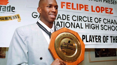 "<p>               FILE - In this March 15, 1994, file photo, Felipe Lopez, a senior at Rice High School in New York City, is named National High School Basketball Player of the Year during a news conference in New York. Lopez, once the top-rated player in the nation in high school, could never live up to the lofty expectations in college or the NBA. His story is told in the new film ""The Dominican Dream."" (AP Photo/Marty Lederhandler, File)             </p>"