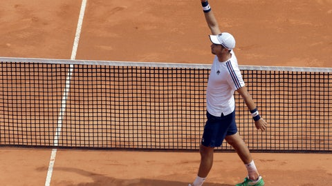 <p>               Serbia's Dusan Lajovic celebrates after defeating Russia's Daniil Medvedev during their semifinal match of the Monte Carlo Tennis Masters tournament in Monaco, Saturday, April, 20, 2019. (AP Photo/Claude Paris)             </p>