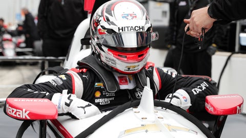 <p>               The Advanced Frontal Protection device is shown directly in front of IndyCar driver Josef Newgarden as climbs into his car during auto racing testing at the Indianapolis Motor Speedway in Indianapolis, Wednesday, April 24, 2019. (AP Photo/Michael Conroy)             </p>