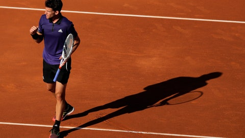 <p>               Austria's Dominic Thiem clenches his fist after scoring a point against Spain's Rafael Nadal during their semifinal match at the Barcelona Open Tennis Tournament in Barcelona, Spain, Saturday, April 27, 2019. (AP Photo/Manu Fernandez)             </p>