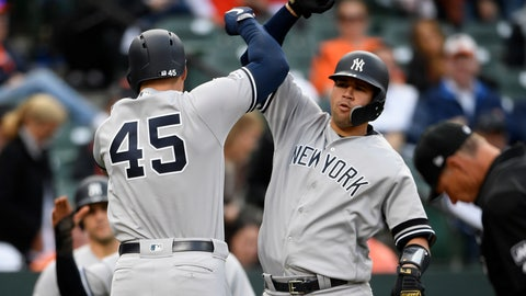 <p>               New York Yankees' Luke Voit (45) celebrates his three-run home run with Gary Sanchez, right, during the ninth inning of the team's baseball game against the Baltimore Orioles, Thursday, April 4, 2019, in Baltimore. The Yankees won 8-4. (AP Photo/Nick Wass)             </p>