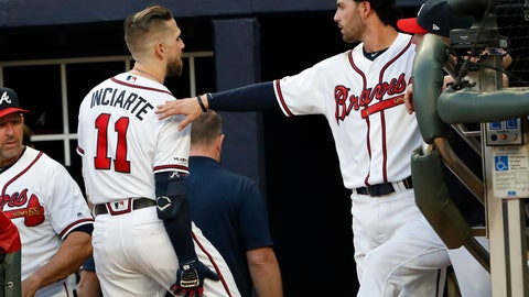 <p>               Atlanta Braves center fielder Ender Inciarte (11) holds his leg as he walks past Dansby Swanson on his way to the clubhouse after being injured in the third inning of a baseball game against the San Diego Padres, Monday, April 29, 2019, in Atlanta. (AP Photo/John Bazemore)             </p>