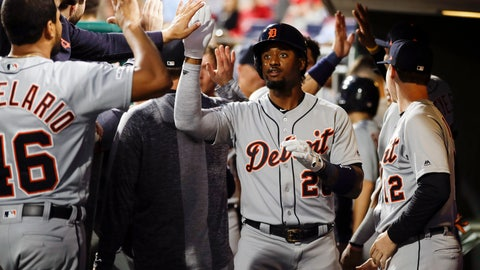 <p>               Detroit Tigers' Niko Goodrum celebrates his homer with one run batted in off of Philadelphia Phillies' Vince Velasquez during the third inning of their baseball game, Tuesday, April 30, 2019, in Philadelphia. (AP Photo/Matt Rourke)             </p>