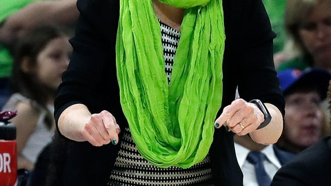 <p>               FILE - In this March 30, 2019, file photo, Notre Dame head coach Muffet McGraw yells during the first half of a regional semifinal game against Texas A&M in the NCAA women's college basketball tournament, in Chicago. Notre Dame will face Connecticut in a Final Four semifinal on Friday, April 5, 2019.(AP Photo/Nam Y. Huh)             </p>