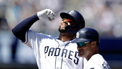 <p>               San Diego Padres' Fernando Tatis Jr. reacts after hitting a single in his first at-bat of his major leagues career, during the second inning of a baseball game against the San Francisco Giants, Thursday, March 28, 2019, in San Diego. (AP Photo/Gregory Bull)             </p>